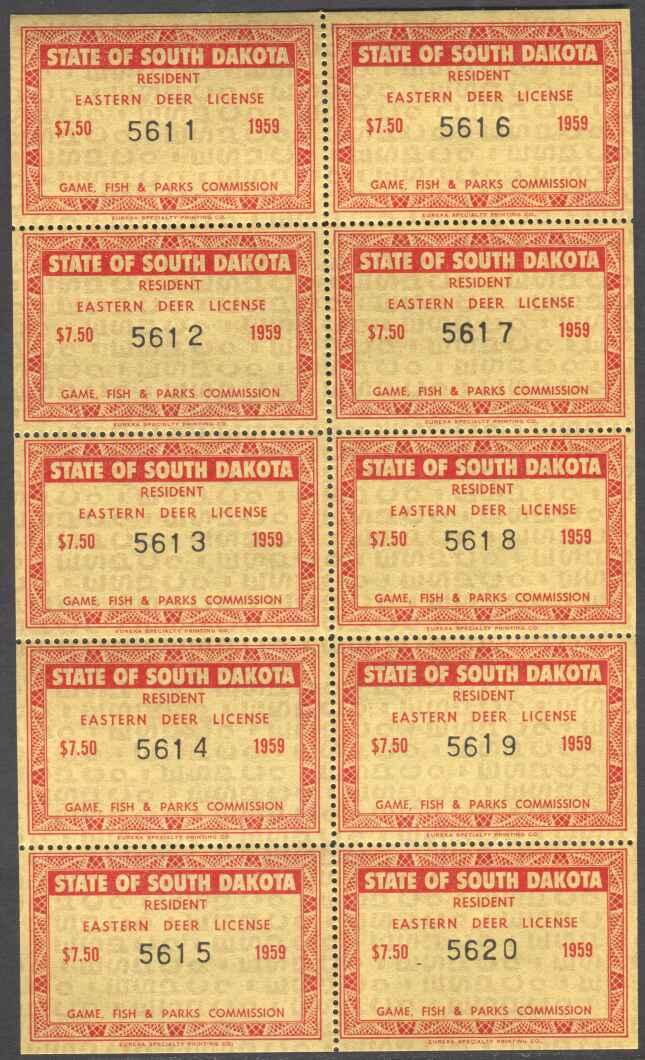 South Dakota Revenue Stamps Deer Eastern Wooton 1 Ebay