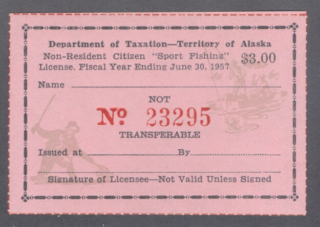 Alaska sport fishing license stamp wooton sf12 ebay for Nc wildlife fishing license